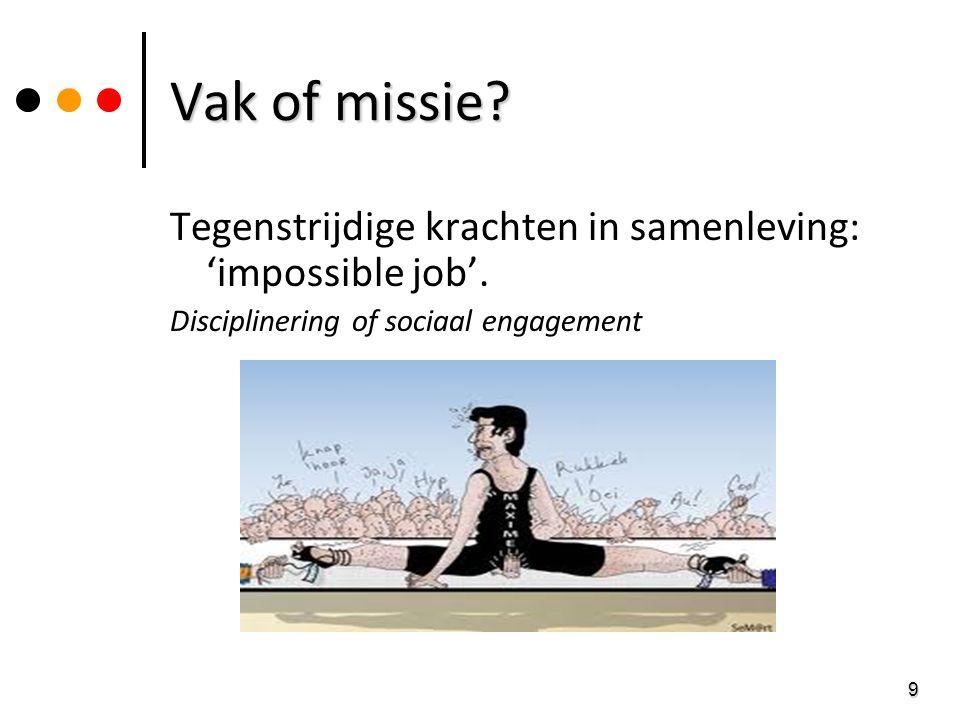 Vak of missie Tegenstrijdige krachten in samenleving: 'impossible job'. Disciplinering of sociaal engagement.