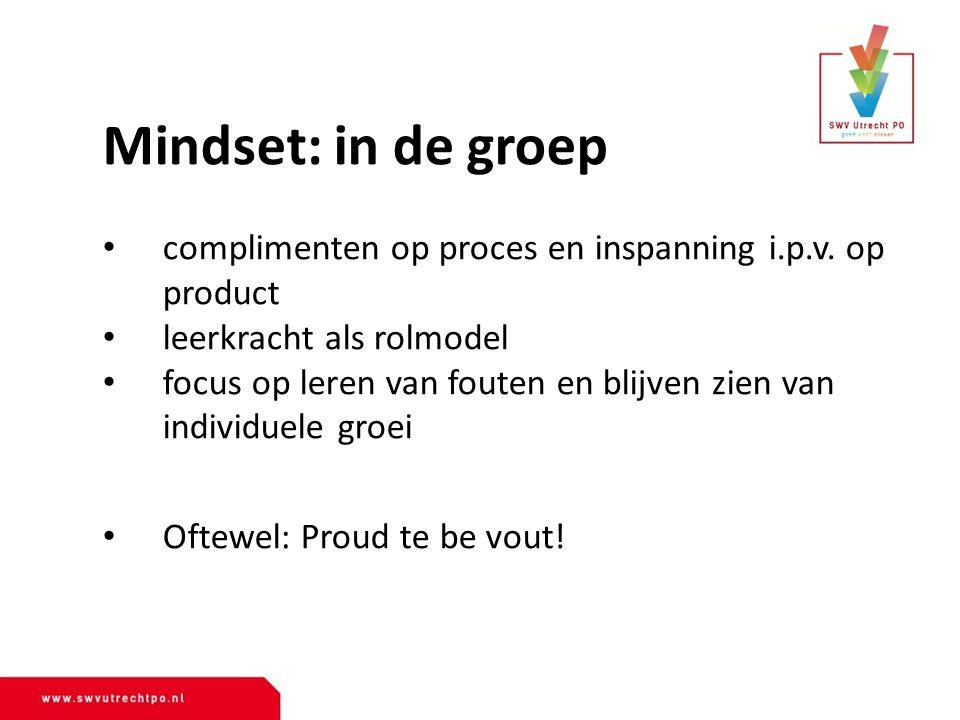 Mindset: in de groep complimenten op proces en inspanning i.p.v. op product. leerkracht als rolmodel.