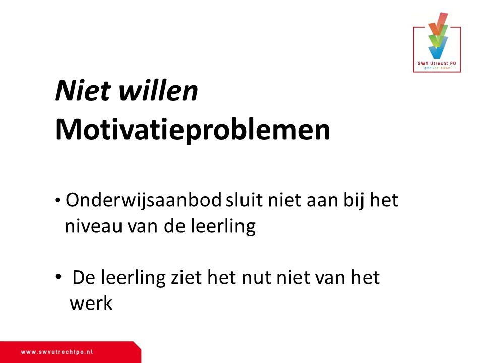 Niet willen Motivatieproblemen niveau van de leerling