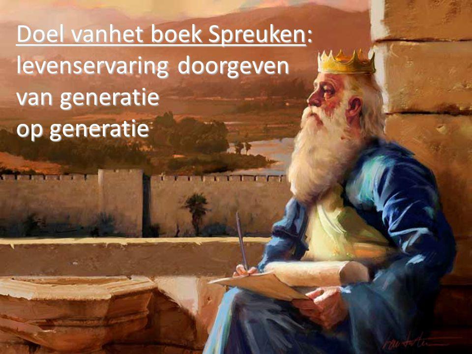Doel vanhet boek Spreuken: