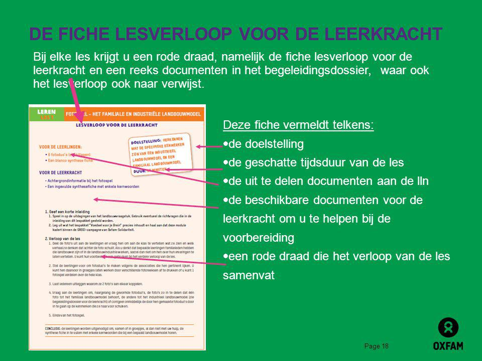 DE FICHE LESVERLOOP VOOR DE LEERKRACHT