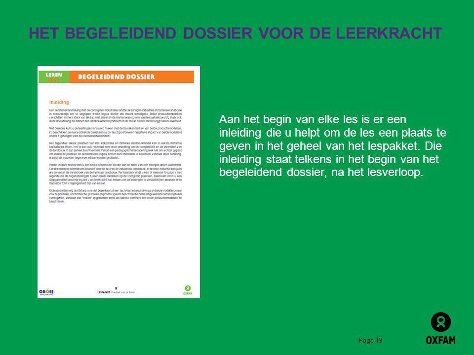 HET BEGELEIDEND DOSSIER VOOR DE LEERKRACHT