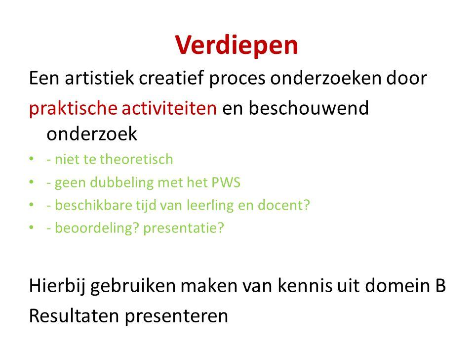 Verdiepen Een artistiek creatief proces onderzoeken door