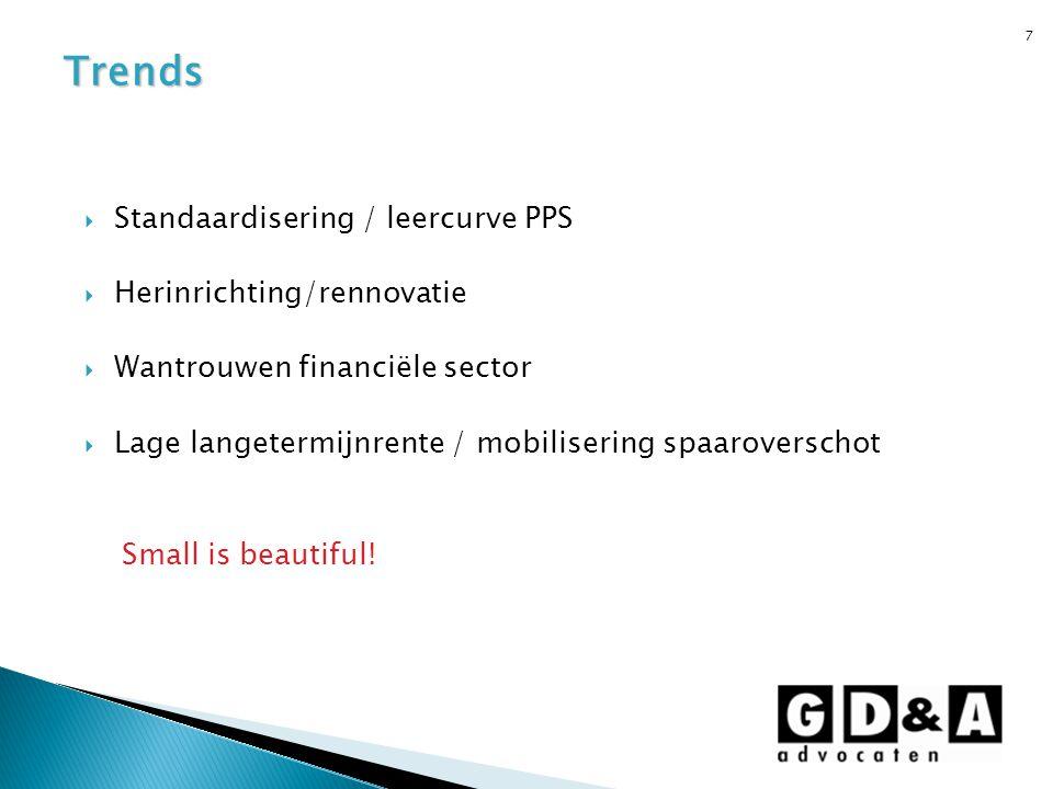 Trends Standaardisering / leercurve PPS Herinrichting/rennovatie