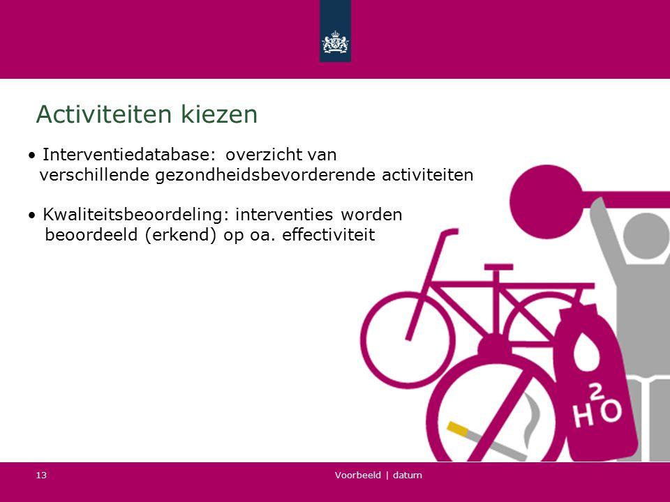 Activiteiten kiezen • Interventiedatabase: overzicht van
