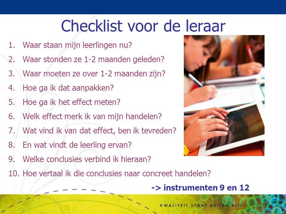 Checklist voor de leraar