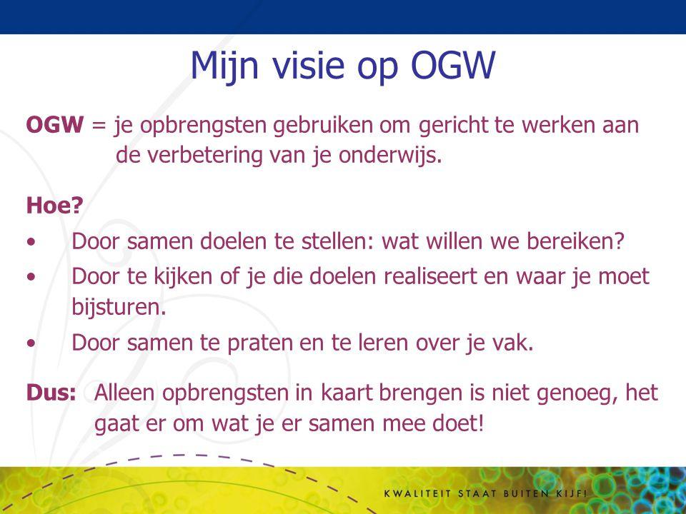 Mijn visie op OGW OGW = je opbrengsten gebruiken om gericht te werken aan de verbetering van je onderwijs.