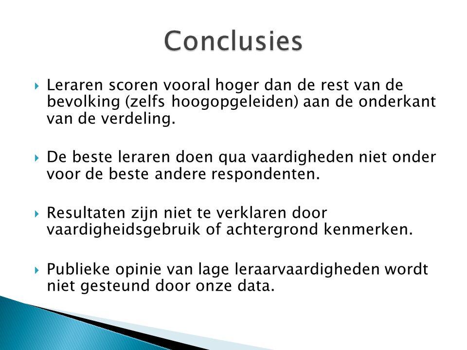 Conclusies Leraren scoren vooral hoger dan de rest van de bevolking (zelfs hoogopgeleiden) aan de onderkant van de verdeling.