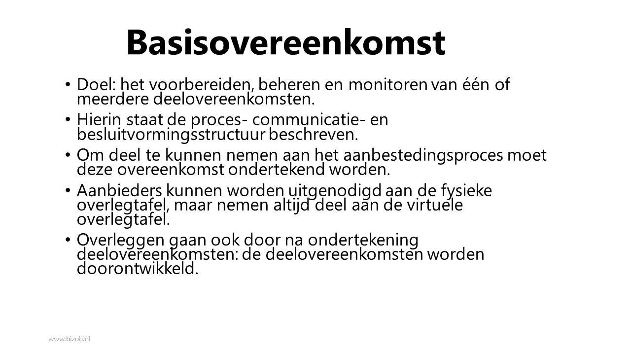 Basisovereenkomst Doel: het voorbereiden, beheren en monitoren van één of meerdere deelovereenkomsten.
