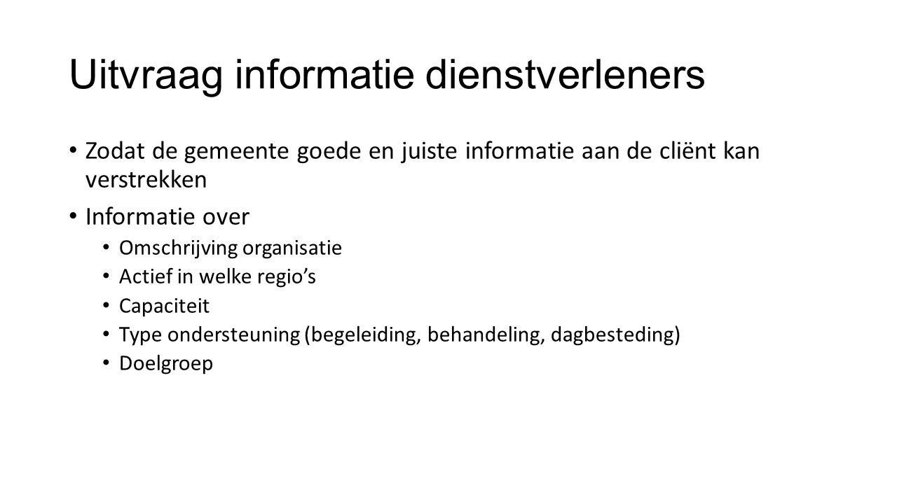 Uitvraag informatie dienstverleners