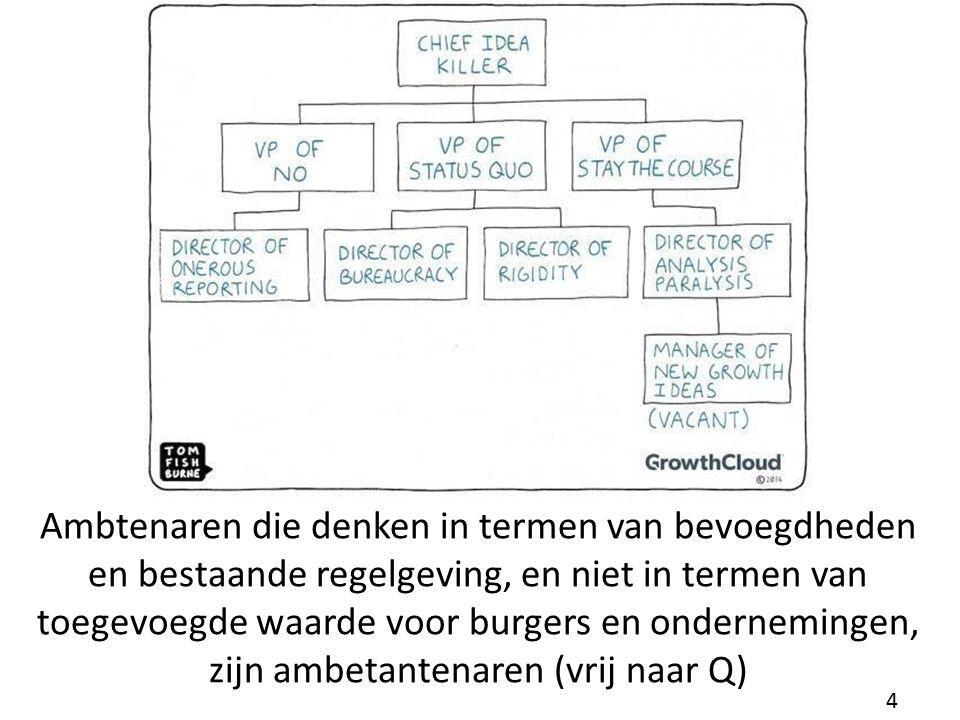 Ambtenaren die denken in termen van bevoegdheden en bestaande regelgeving, en niet in termen van toegevoegde waarde voor burgers en ondernemingen, zijn ambetantenaren (vrij naar Q)