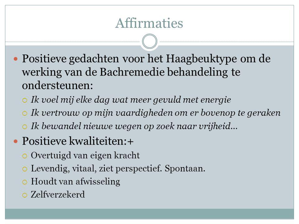 Affirmaties Positieve gedachten voor het Haagbeuktype om de werking van de Bachremedie behandeling te ondersteunen: