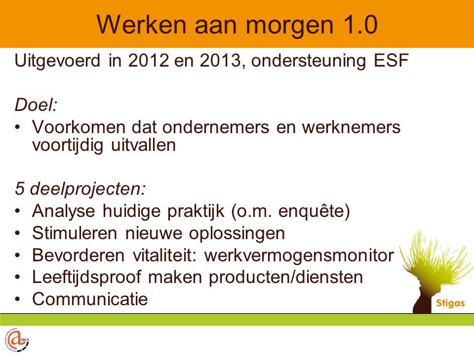 Werken aan morgen 1.0 Uitgevoerd in 2012 en 2013, ondersteuning ESF