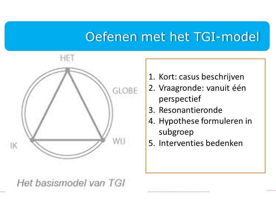 Oefenen met het TGI-model Oefenen met het TGI-model