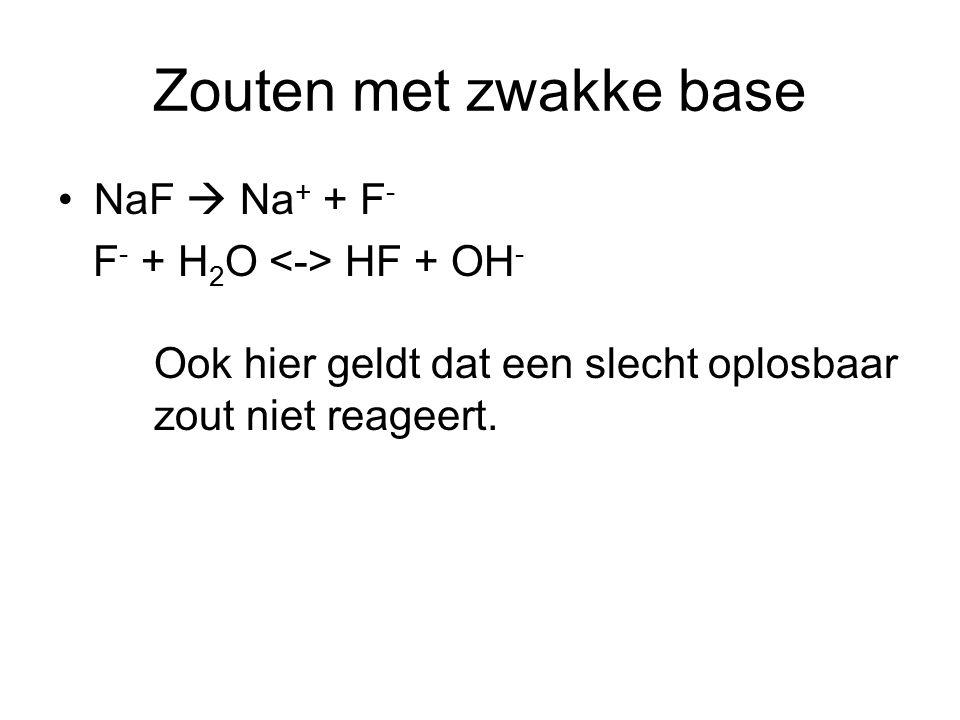 Zouten met zwakke base NaF  Na+ + F- F- + H2O <-> HF + OH-