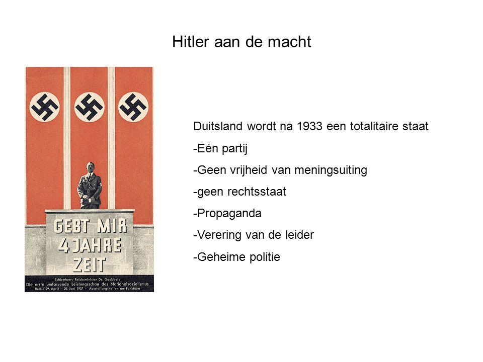 Hitler aan de macht Duitsland wordt na 1933 een totalitaire staat