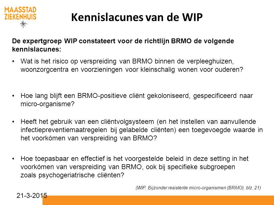 Kennislacunes van de WIP