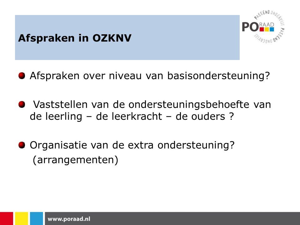 Afspraken in OZKNV Afspraken over niveau van basisondersteuning