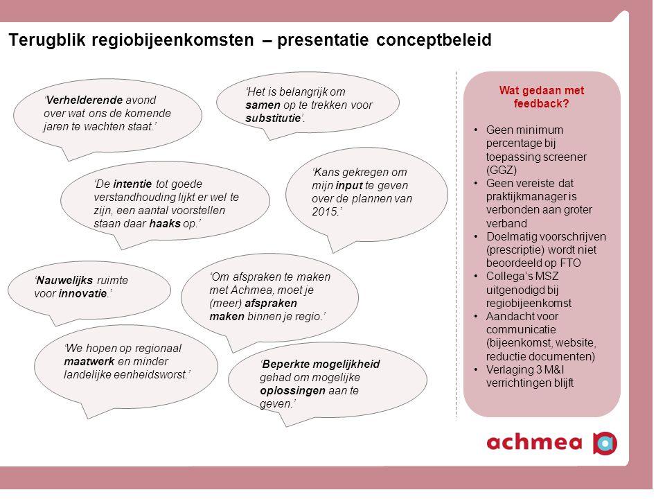 Terugblik regiobijeenkomsten – presentatie conceptbeleid