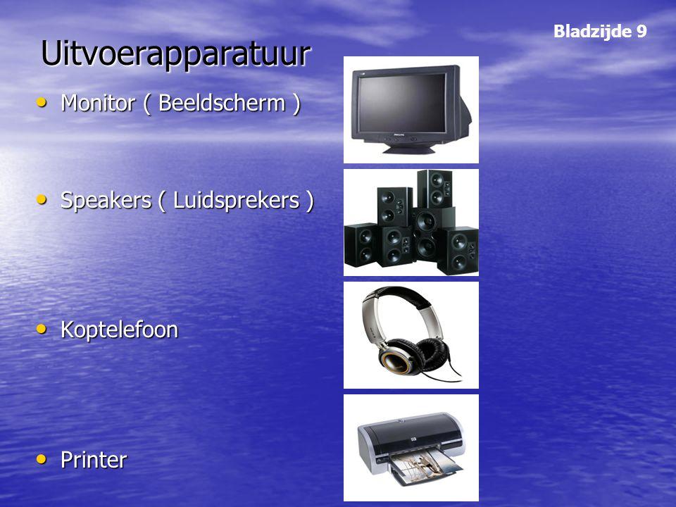 Uitvoerapparatuur Monitor ( Beeldscherm ) Speakers ( Luidsprekers )