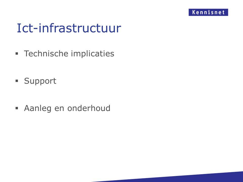 Ict-infrastructuur Technische implicaties Support Aanleg en onderhoud