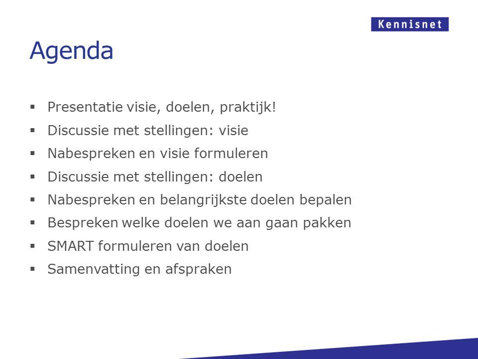 Agenda Presentatie visie, doelen, praktijk!