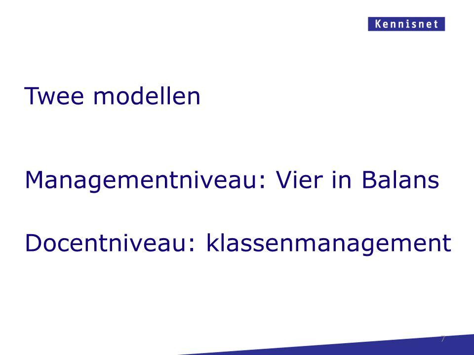 Managementniveau: Vier in Balans Docentniveau: klassenmanagement