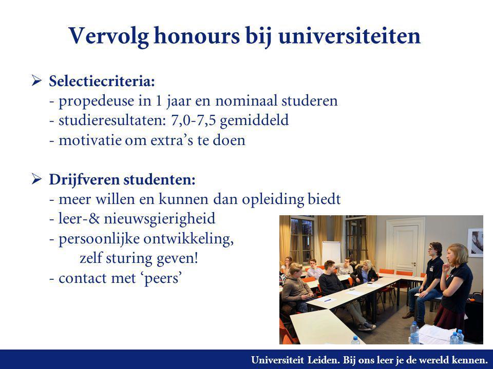 Vervolg honours bij universiteiten