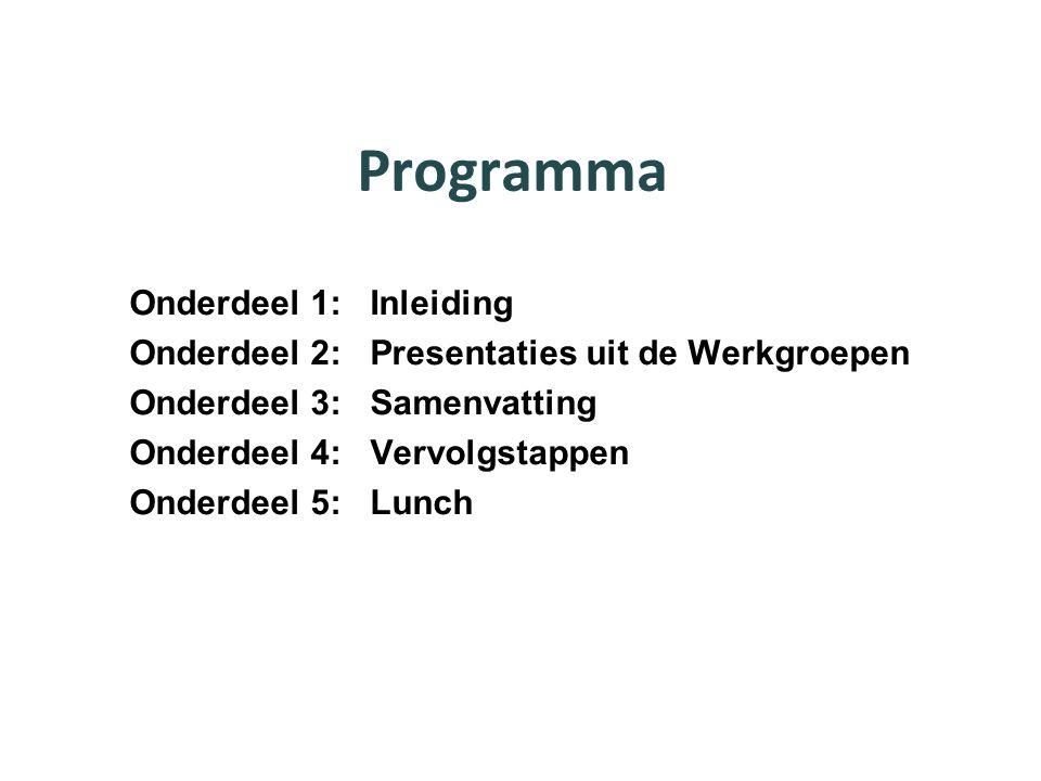 Programma Onderdeel 1: Inleiding