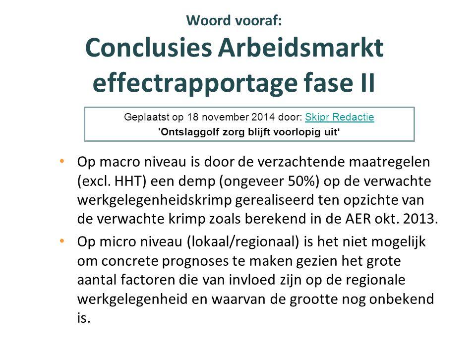 Woord vooraf: Conclusies Arbeidsmarkt effectrapportage fase II