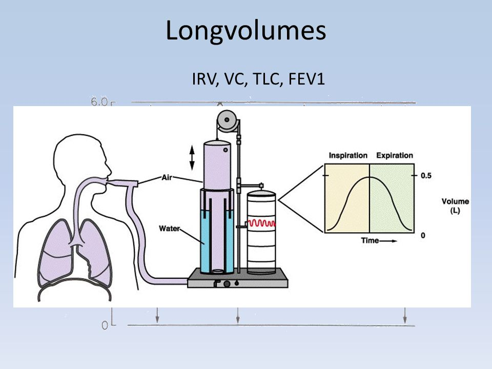 Longvolumes IRV, VC, TLC, FEV1
