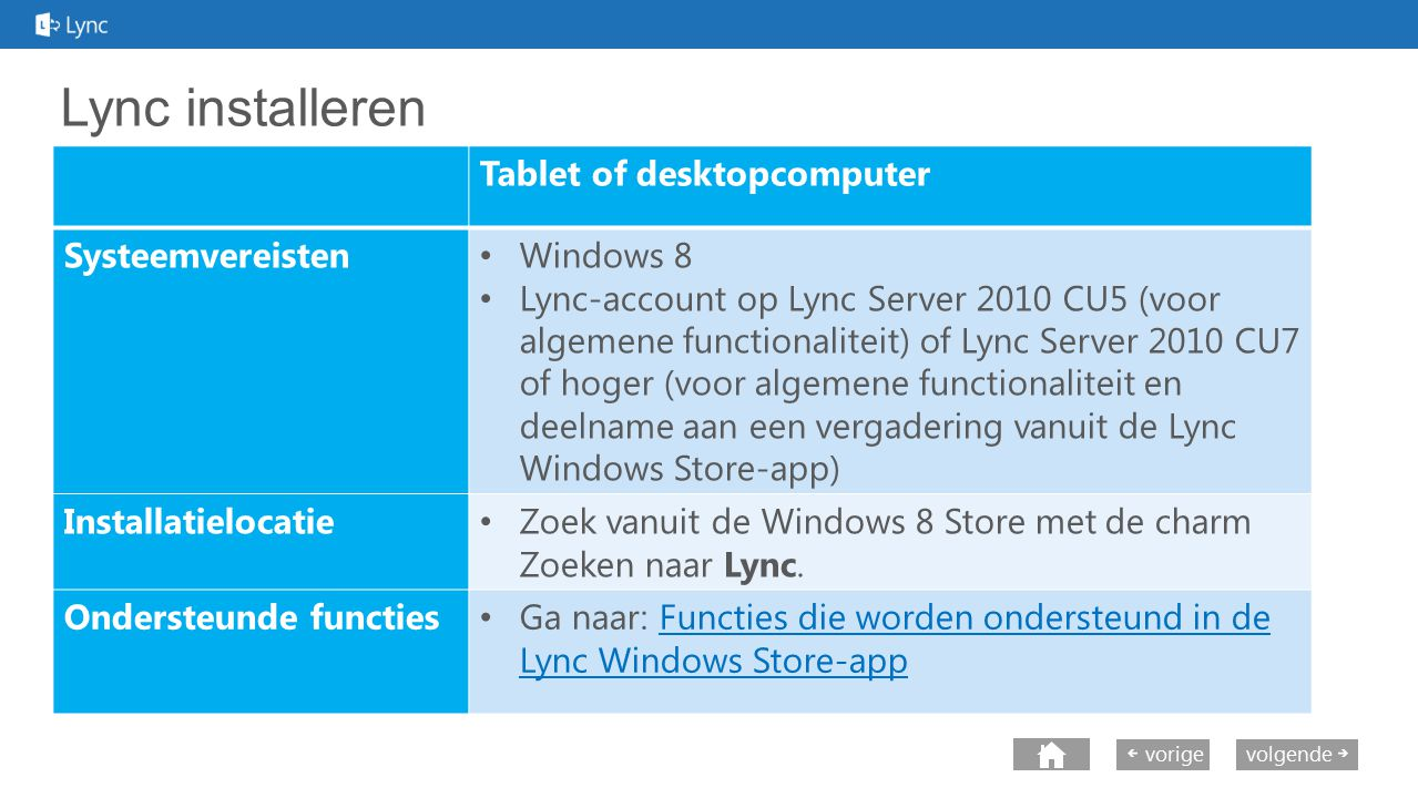 Lync installeren Tablet of desktopcomputer Systeemvereisten Windows 8