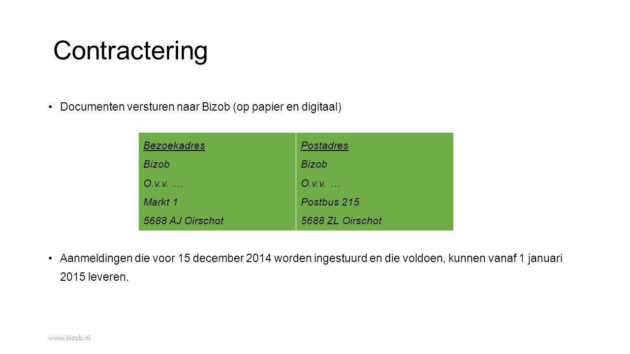 Contractering Documenten versturen naar Bizob (op papier en digitaal)