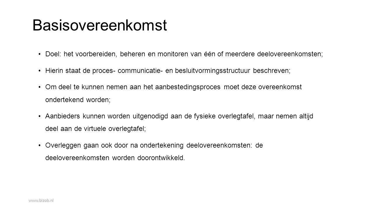 Basisovereenkomst Doel: het voorbereiden, beheren en monitoren van één of meerdere deelovereenkomsten;