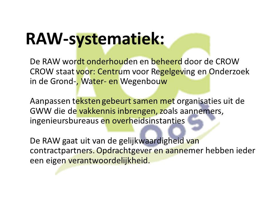 RAW-systematiek: De RAW wordt onderhouden en beheerd door de CROW