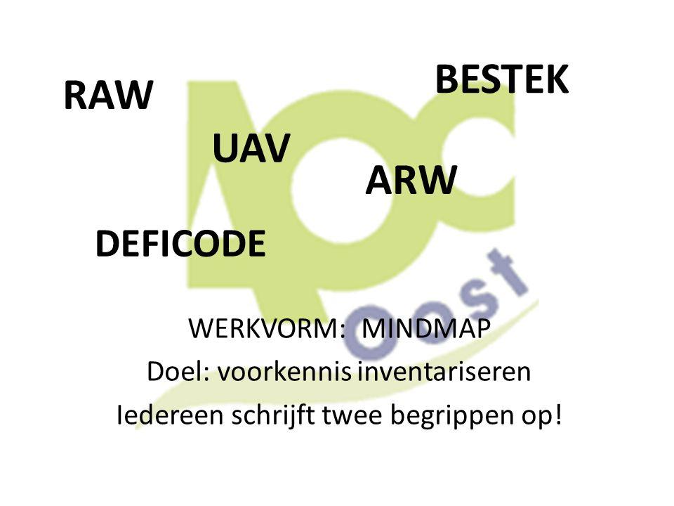 BESTEK RAW UAV ARW DEFICODE WERKVORM: MINDMAP