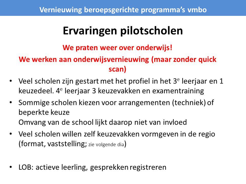 Ervaringen pilotscholen
