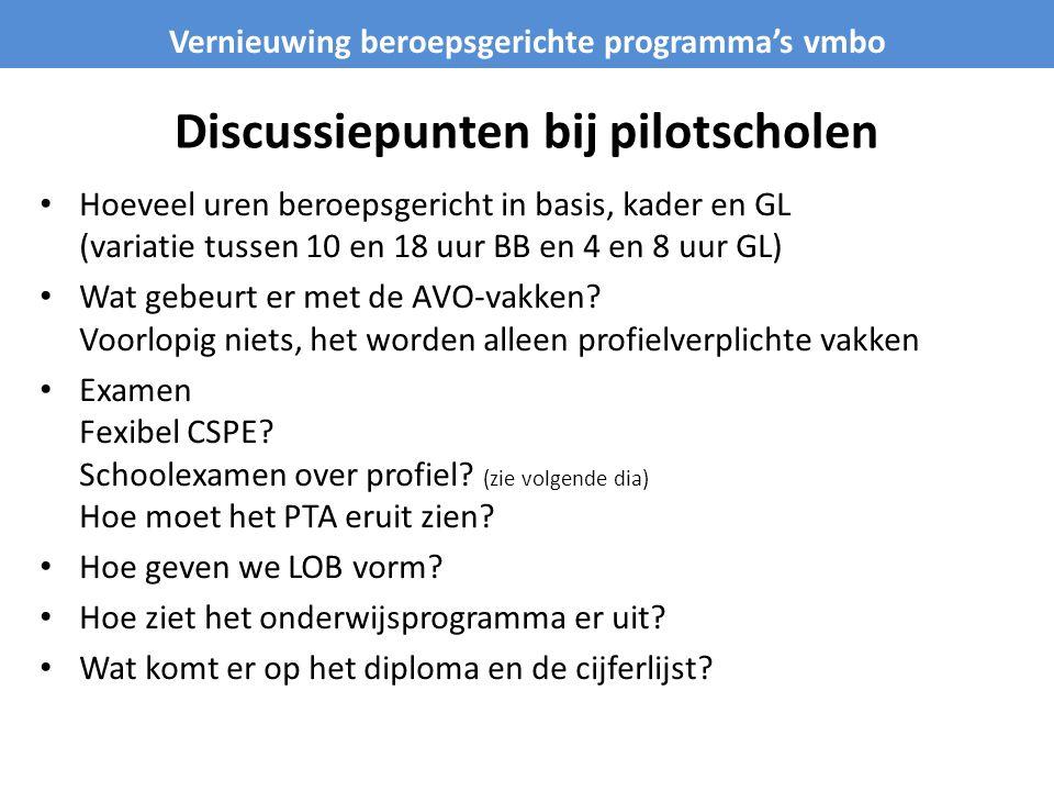 Discussiepunten bij pilotscholen