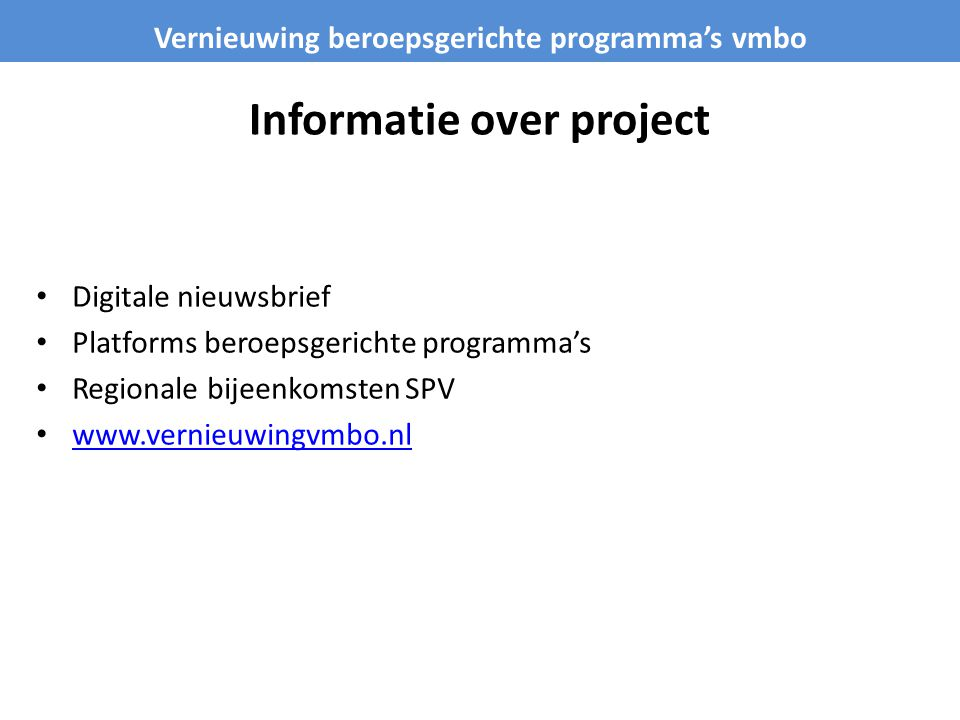 Informatie over project