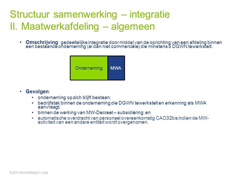 Structuur samenwerking – integratie II. Maatwerkafdeling – algemeen