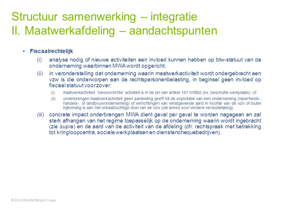Structuur samenwerking – integratie II