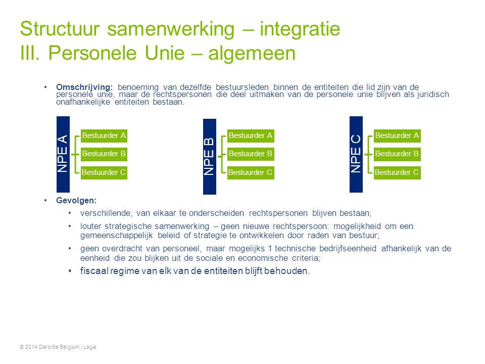 Structuur samenwerking – integratie III. Personele Unie – algemeen