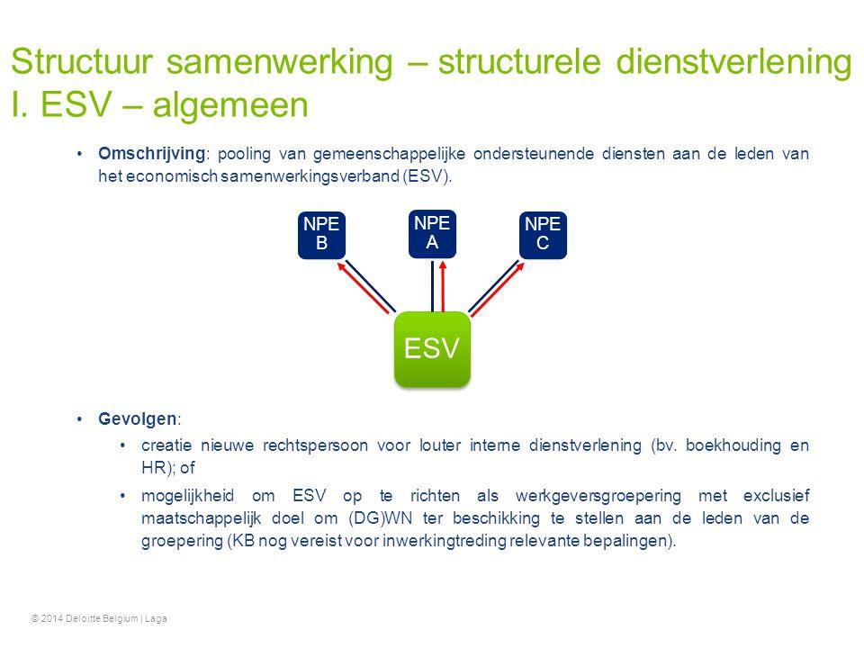 Structuur samenwerking – structurele dienstverlening I. ESV – algemeen