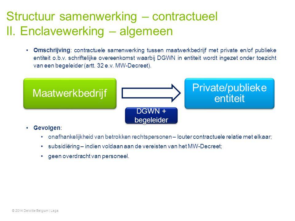 Structuur samenwerking – contractueel II. Enclavewerking – algemeen