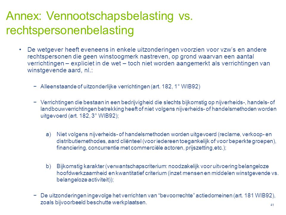 Annex: Vennootschapsbelasting vs. rechtspersonenbelasting