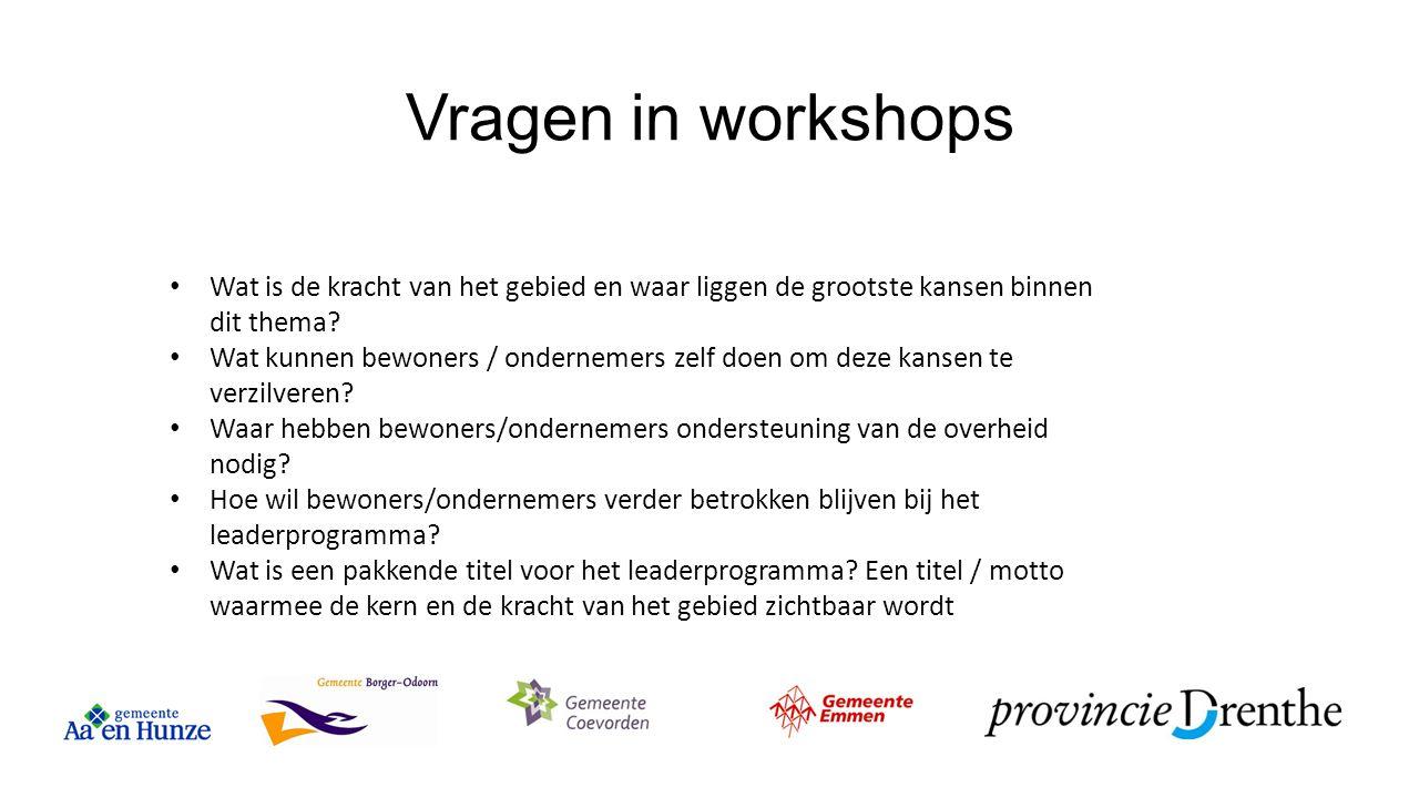 Vragen in workshops Wat is de kracht van het gebied en waar liggen de grootste kansen binnen dit thema