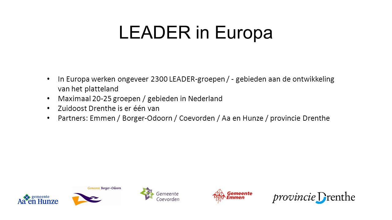 LEADER in Europa In Europa werken ongeveer 2300 LEADER-groepen / - gebieden aan de ontwikkeling van het platteland.