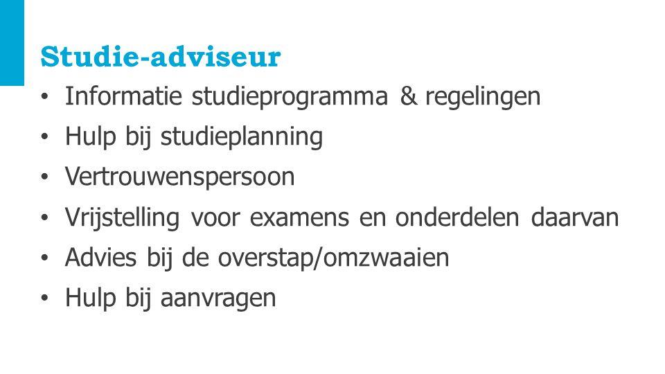 Studie-adviseur Informatie studieprogramma & regelingen