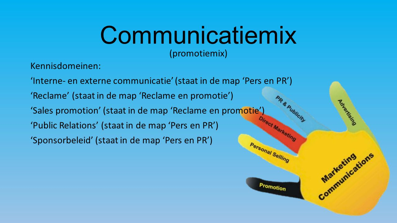 Communicatiemix (promotiemix) Kennisdomeinen: