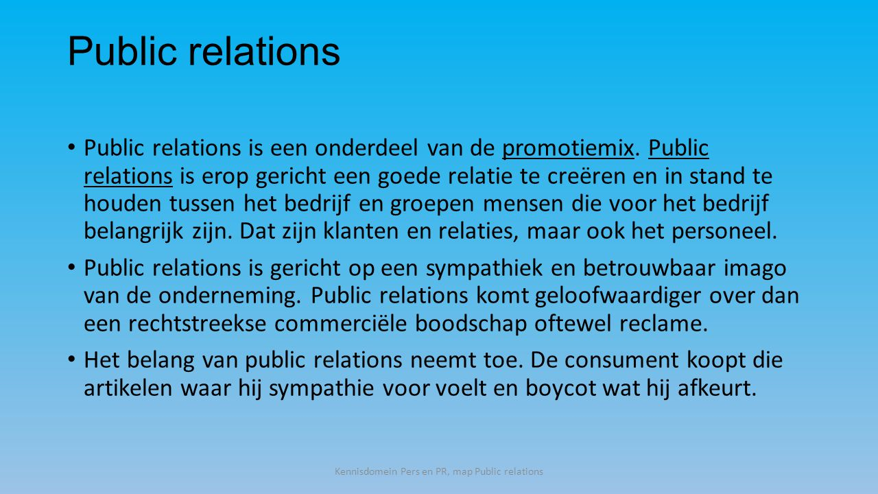 Kennisdomein Pers en PR, map Public relations